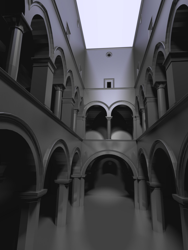 Sponza rendering with glossy reflections, render time 36 secs
